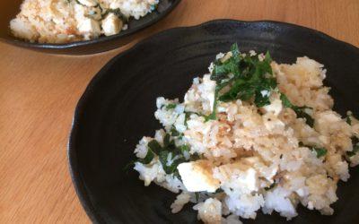 冷蔵庫の残り物で!豆腐と辛子明太子の和風チャーハン